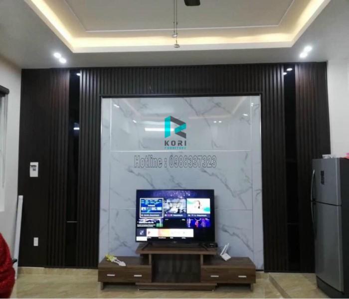 Gỗ ốp tường trang trí bức tivi