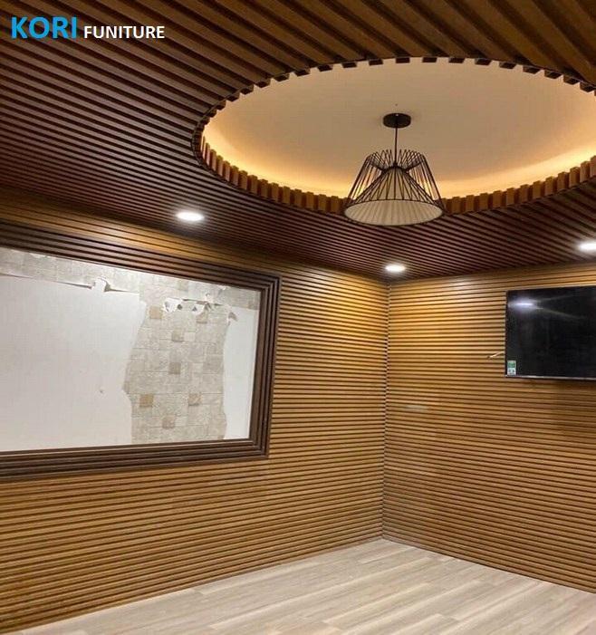 tấm gỗ ốp tường trang trí giá rẻ, ốp tường gỗ công nghiệp phòng ngủ,