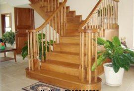 Cầu thang gỗ sồi;