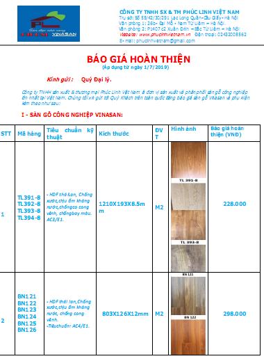 Báo giá sàn gỗ công nghiệp Malaysia chính hãng