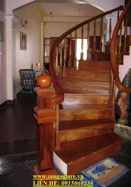 cầu thang, cầu thang gỗ lin, cầu thang gỗ tự nhiên