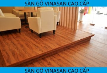 Ốp bục gỗ, thi công sàn gỗ nâng quán cafe