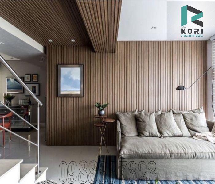 Ốp tường ốp trần gỗ nhựa lam sóng
