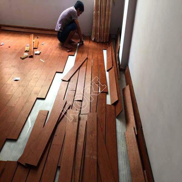 thi công sàn gỗ tại vân canh