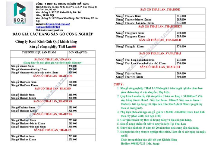 Bảng báo giá sàn gỗ công nghiệp Thái Lan