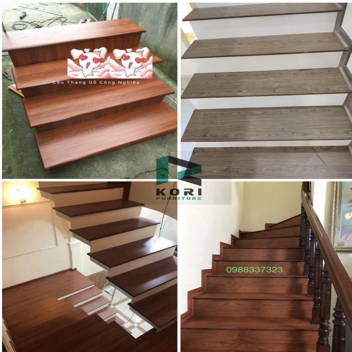 Lát mặt bậc cầu thang gỗ công nghiệp