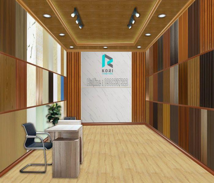 Showroom tấm lam sóng gỗ ốp tường ốp trần